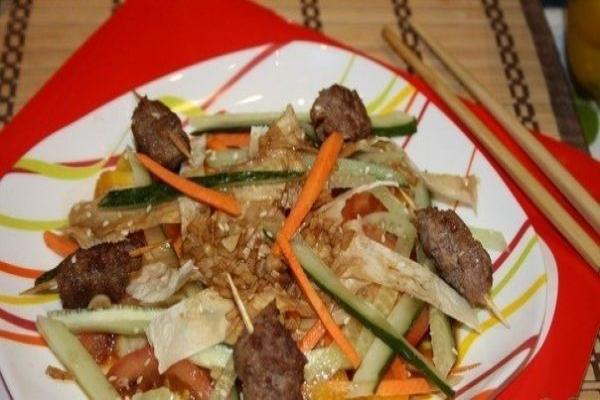 Теплый салат с мясом