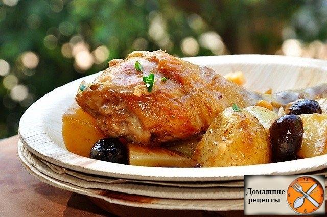 Курица в вине с картошкой