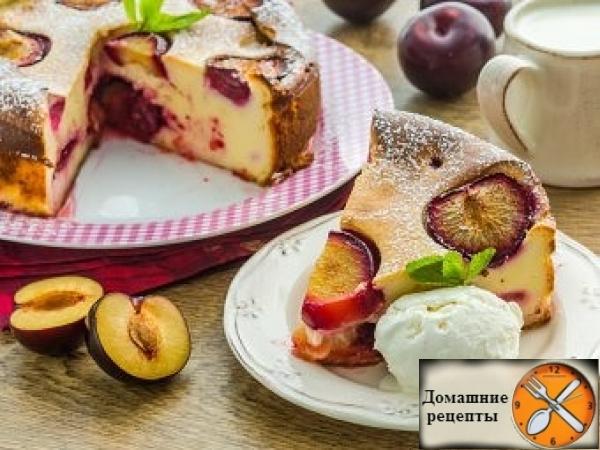 Пирог из творожного теста со сливами