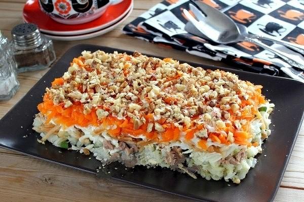Салат с печенью трески 6