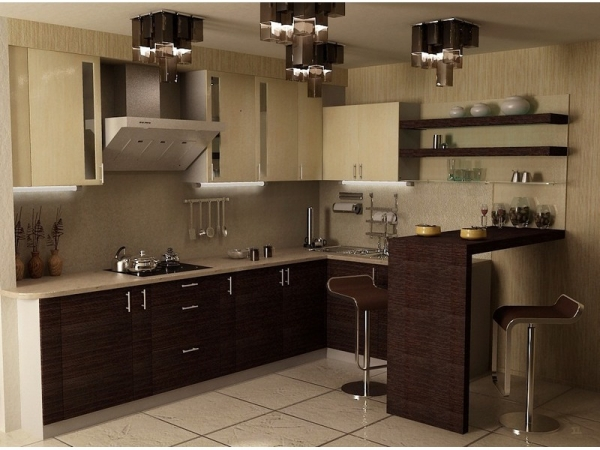 Барная стойка в интерьере кухни 11