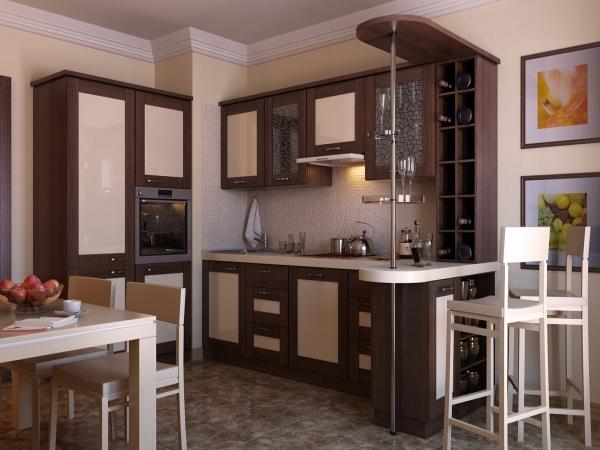 Барная стойка в интерьере кухни 7