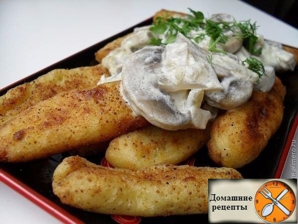 Оригинальная и простая закуска - картофельные палочки с грибами