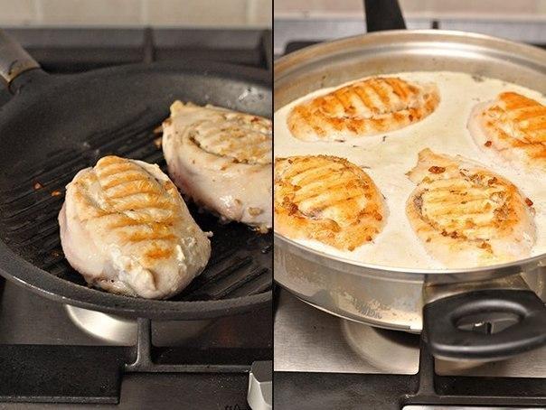 Куриные грудки фаршированные гречкой и шампиньонами, тушенные в сливочно-грибном соусе 3