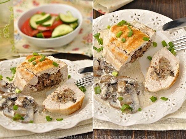 Куриные грудки фаршированные гречкой и шампиньонами, тушенные в сливочно-грибном соусе 4